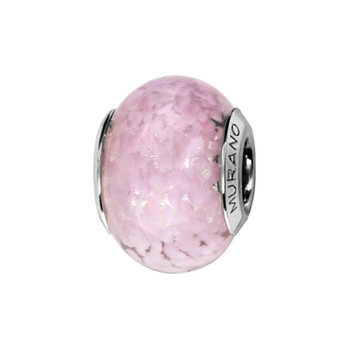 Charms Argent 925 Perle Murano Rose Effet Nuage