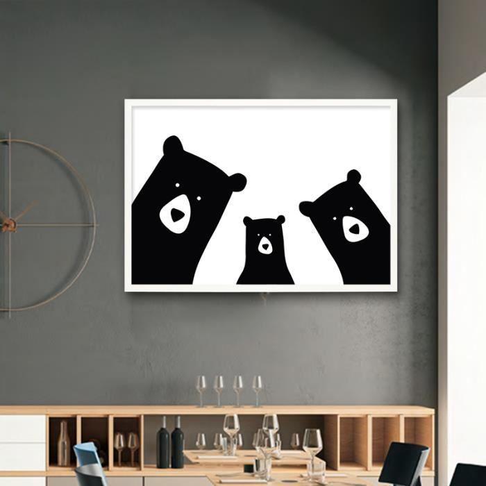 Merveilleux Mignon Ours Famille Animal Toile Peinture Noir Blanc Dessin Animé Poster  Imprimer Image Mur Nordique Art Pépinière Enfants Chambre