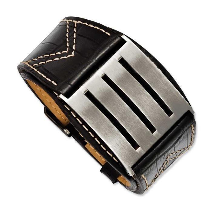 En acier inoxydable de boucle ajustable et Bracelet en cuir noir - 9 cm