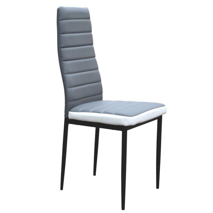 lot 6 chaises coloris blanc gris flash style moderne et pur effet garanti dans votre salle. Black Bedroom Furniture Sets. Home Design Ideas