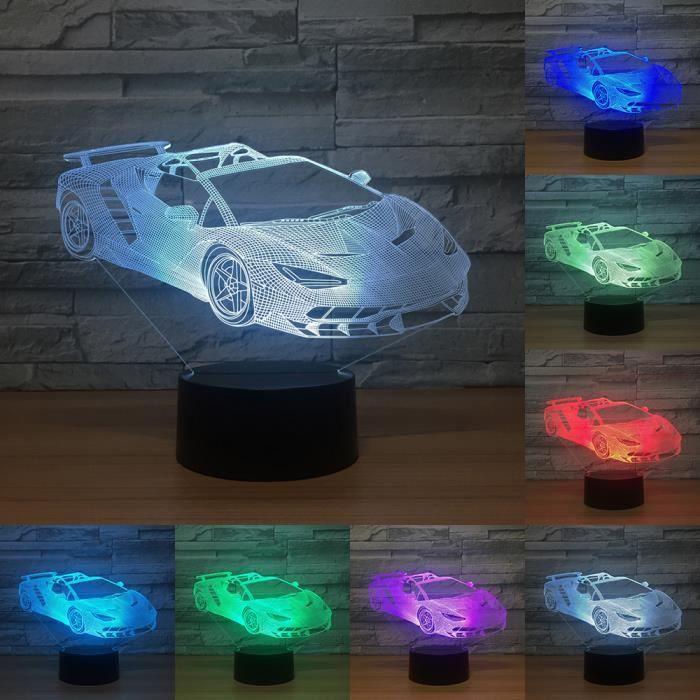 Couleurs Lampe Cadeaux Illusion Tactile 3d Sport Racing Usb Enfants D'anniversaire Voiture Led 7 Chambre Lumière Nuit rtQChds