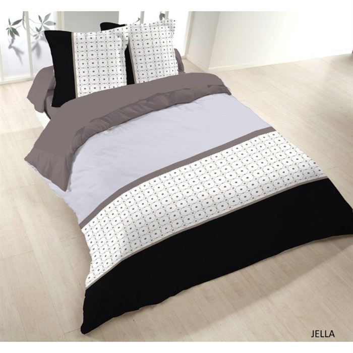 Housse couette 200x200 + 2 taies JELLA 100% Coton   Achat / Vente