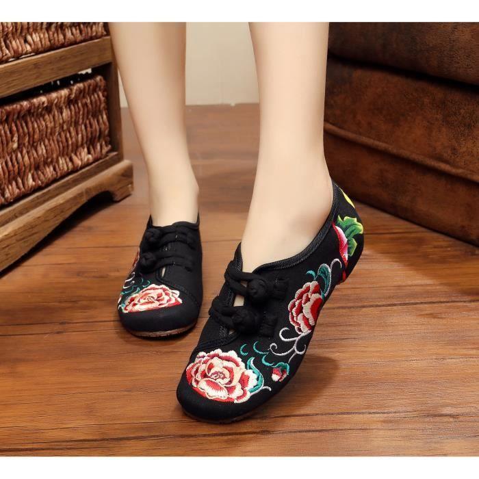 Mocassins Broderie de pivoine Femmes chaussures oknYG