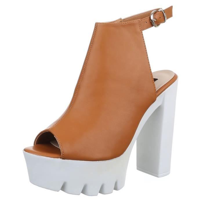 femme chaussure sandalette escarpin Plateau beige