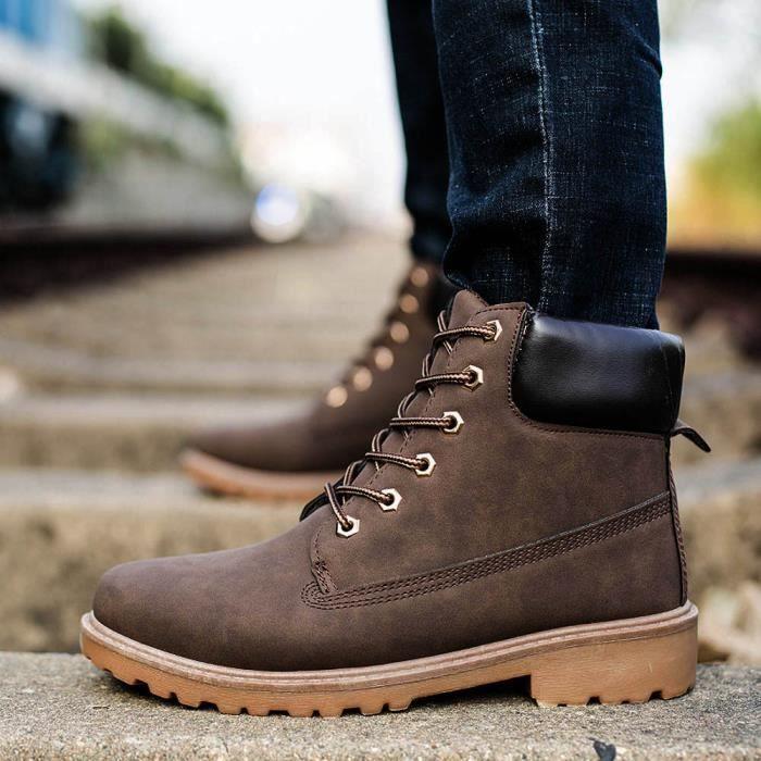 Hommes bottes de cheville fourrure doublé automne hiver Martin bottes chaussures marron 6y949Czbmv