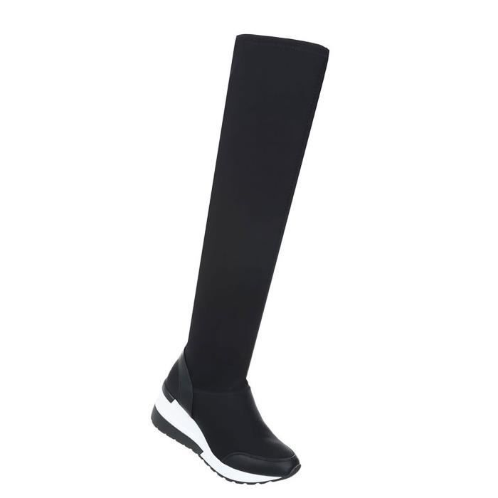 Chaussures femmes bottes talon compensé noir 41