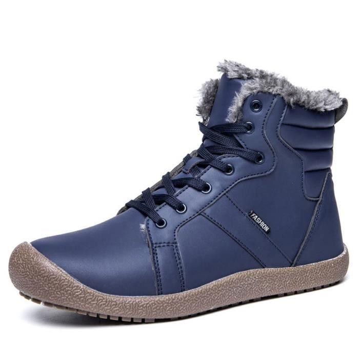 montantes Chaussures P4WAT d'hiver en Mens cheville avec de de 1 40 doublure neige lacées Chaussures sport 2 Bottes fourrure Taille xpZXz