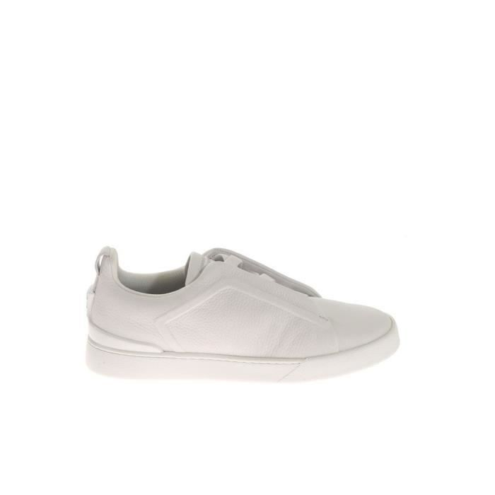 Z ZEGNA HOMME A2511XVALBIA BLANC CUIR BASKETS