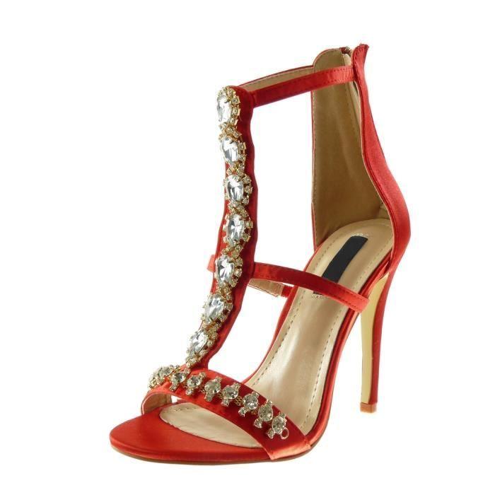 22b29d2ba2d942 Angkorly - Chaussure Mode Escarpin Sandale stiletto montante salomés femme  strass diamant bijoux multi-bride Talon haut aiguille 11
