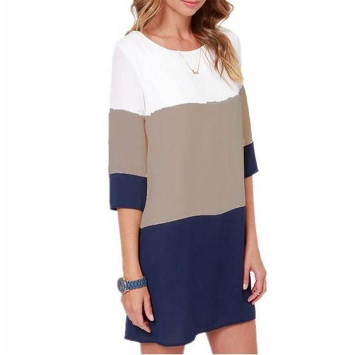 80c9aee09f5b Vêtement Femme- Robe - classique couleur Bleu Bleu - Achat   Vente ...