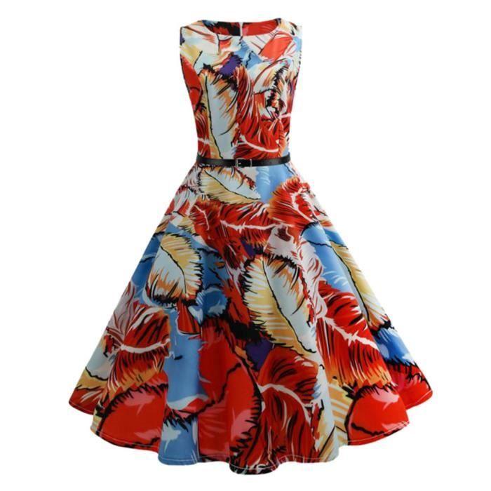 Mode Femmes Vintage Imprimé Moulante Sans Manches Décontracté Cocktail Robe de Bal@Multicolore