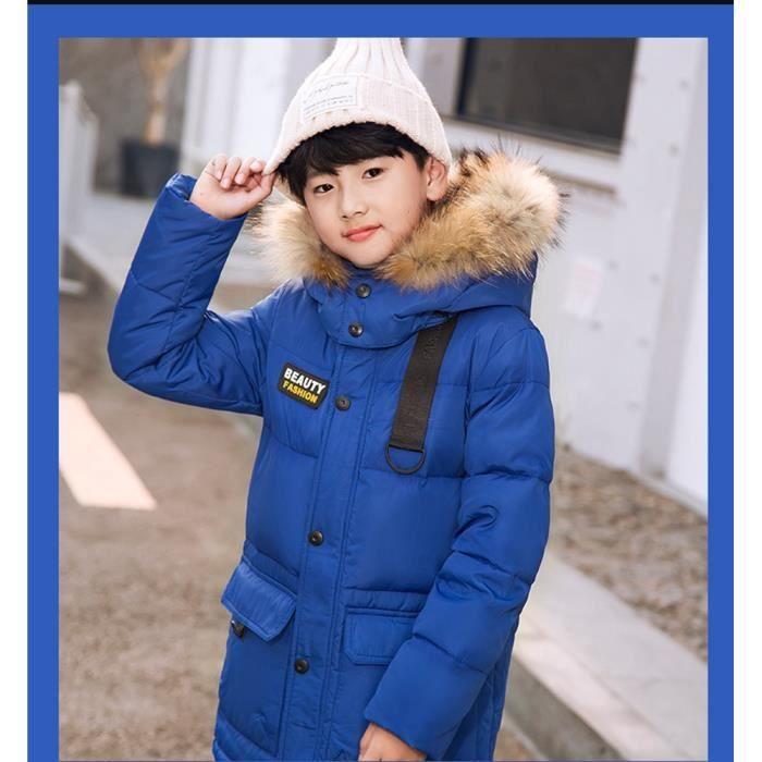 ba9f3c023aefc Garçon Doudoune Chaud Enfant Vêtement Mi-Longue Blouson avec Capuche  Fourrure Rembourré Manteau Automne Hiver 6-14 ans-Bleu