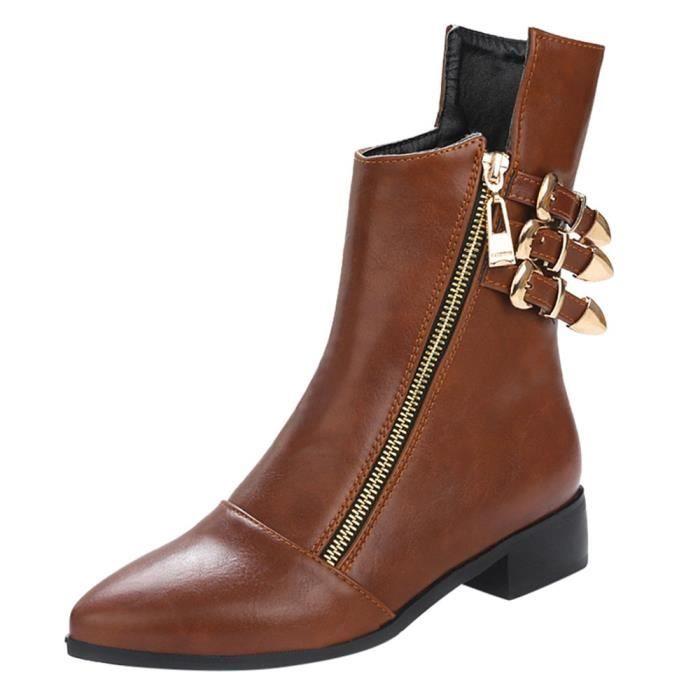En Rond Bout Bottines Retro Cuir Casual Femmes Chaussures À Adulte Métal Mode yini3019 Zip ZwqBvYzR