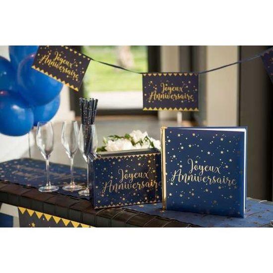 Livre D Or Joyeux Anniversaire Bleu Marine Et Or Achat Vente