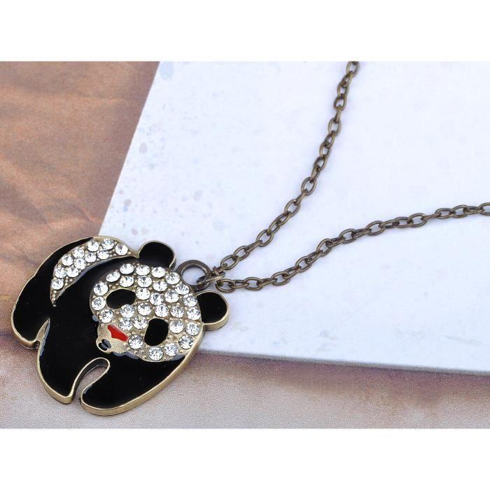 Peint Motif émail noir cristal transparent et strass-Pendentif Panda Ours