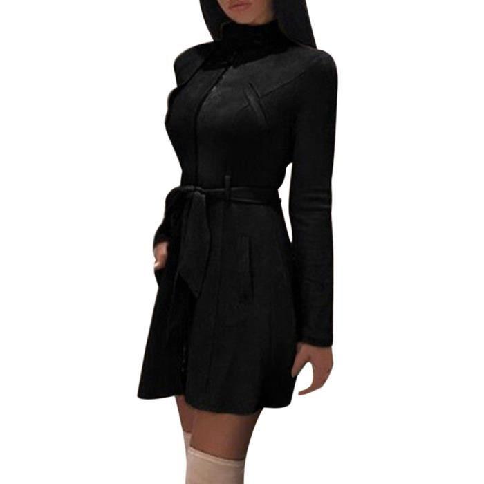 vent Exquisgift Pardessus Turtleneck Coupe Noir Zipper Manteau Mode Bow Bandage Solid Femmes 88Sq6
