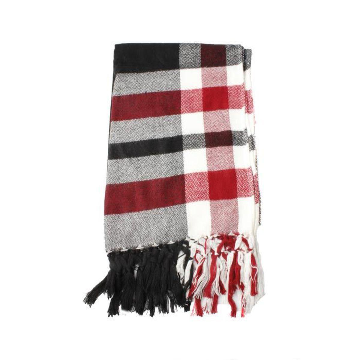 ECHARPE - FOULARD Écharpe à carreaux noir, blanc et rouge à carreaux 8c36c98fe3f