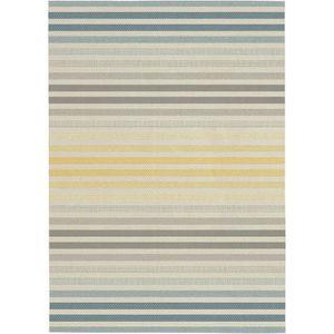 TAPIS Tapis tissé plat Stripe 120x170 cm gris et jaune