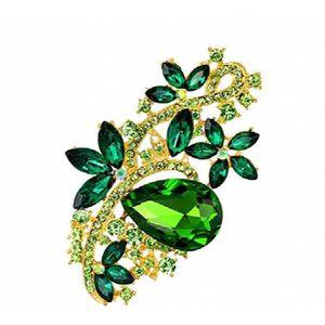 BROCHE Femmes Dernières élégant vert Broche strass 3NECEV