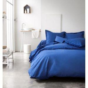 housse de couette 240x260 bleu achat vente housse de couette 240x260 bleu pas cher cdiscount. Black Bedroom Furniture Sets. Home Design Ideas