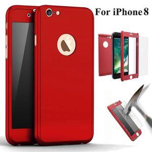 HOUSSE - ÉTUI EBUY® Coque intégrale iPhone 8 Rouge + Verre tremp