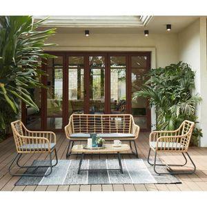 CAP Salon de jardin 4 places en résine imitation rotin avec 2 ...