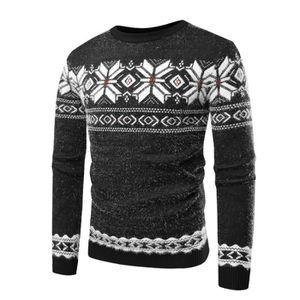 pull homme de Marque Noël tricot pull tendance homme Pull de couleur  assortie Flocon de neige imprimé slim à col rond décontracté 24c77e6095d2