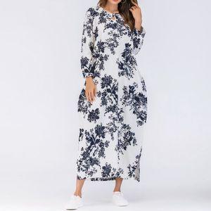 ca5501ed7d4 ROBE Femmes Robe manches longues en coton lin en vrac l