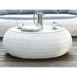 Table basse de jardin WHITEHEAVEN en résine tressée blanche - Achat ...