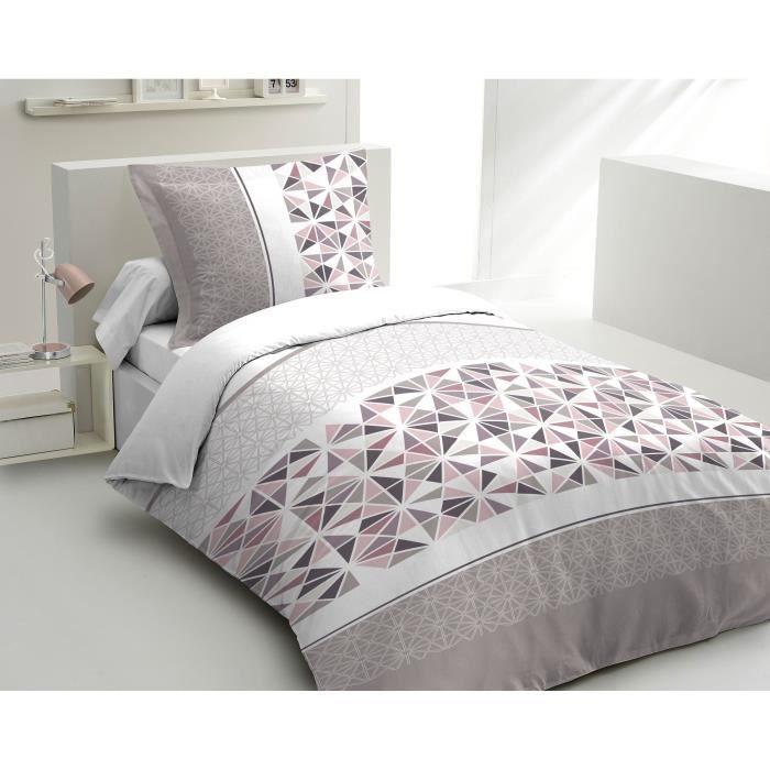 Matière : 100% coton tissé serré 54 fils - Dimensons : 140x200/ 65x65 cm - Coloris : rose, gris et blancPARURE DE COUETTE