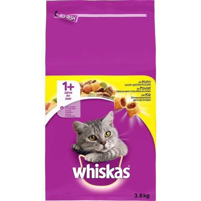 WHISKAS Croquettes au poulet - Pour chat adulte - 3,8 kg