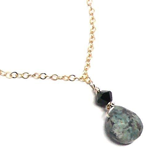 Womens Turquoise Jasper 9x9mm Briolette Dainty Chain Necklace Gold-filled 17-1-2 Inches R1JB2