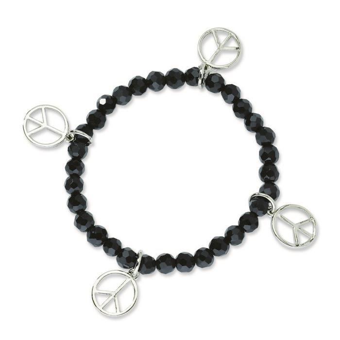 Argenté Noir-Peace Charms Perles Bracelet Stretch