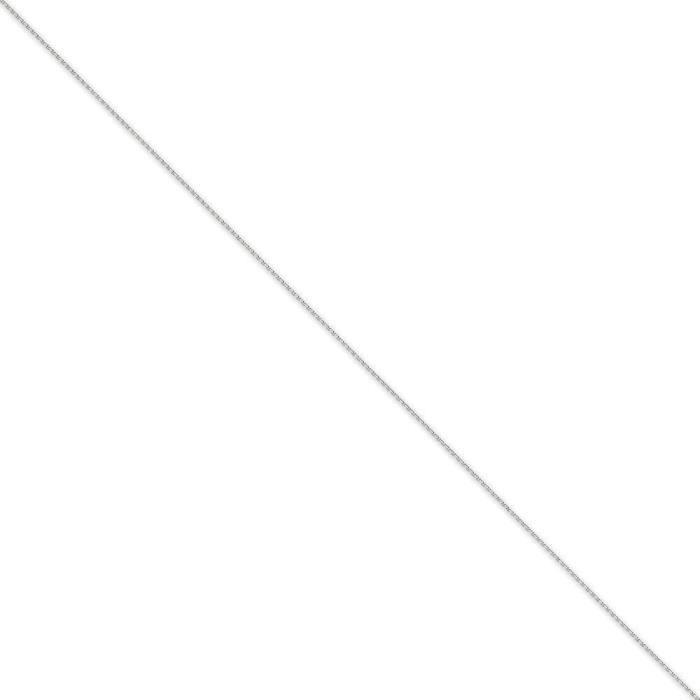 En or blanc 14 carats Diamant 8 mm-Coupe-câble chaîne collier-24 cm