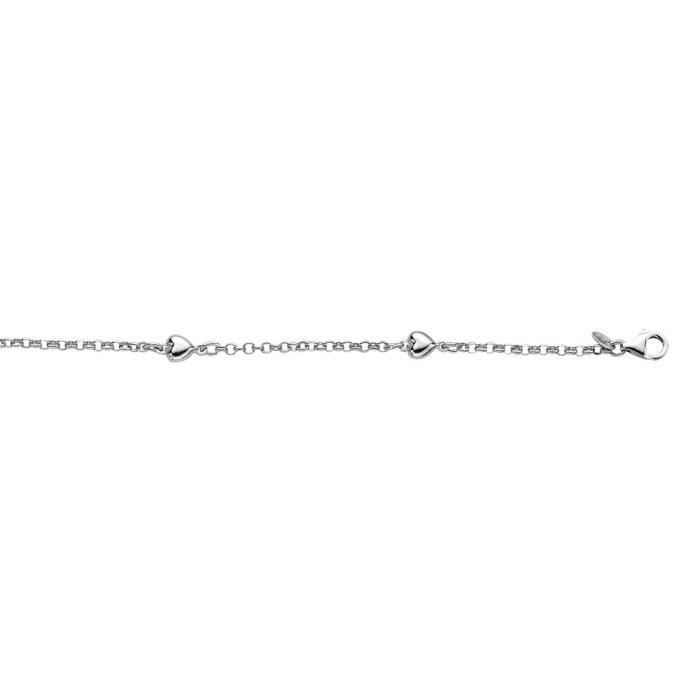 Rhodium argent Sterling plaqué Bracelet de cheville Femme-Coeur - 10 poli