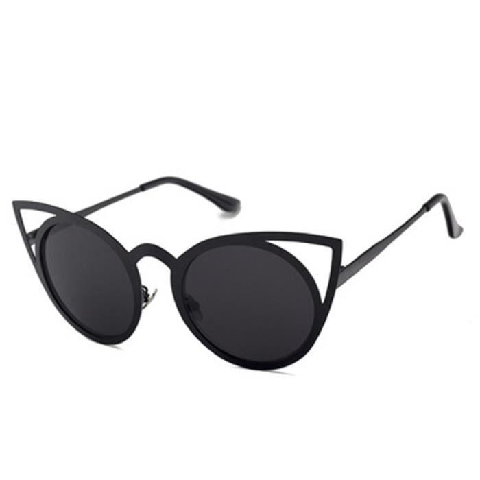 YKS fashion yeux Lunettes de soleil cerclées de noir chat feuille grise C8