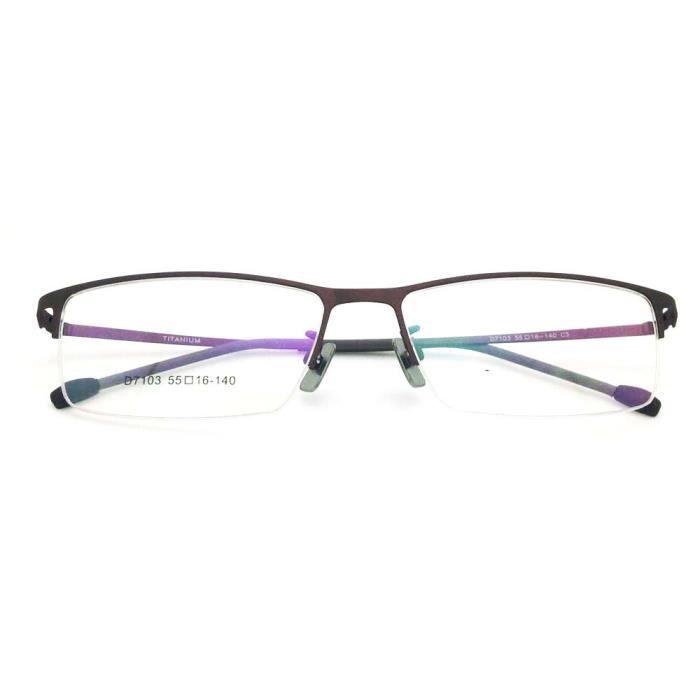 Mode en acier inoxydable montures optique lunettes Cadres Myopie Avec Titane  Nez Pad café 5ced4202ba3f