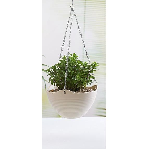 3pcs r sine pots en plastique balcon pots suspendus plantes araign es des pots de couleur blanc - Pot de fleur suspendu ...