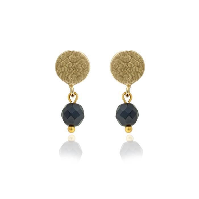 Boucles doreille perle noir - Petit modèle - La bonne étoile Noir