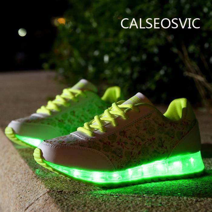 la chaussures danse Femme LED Pour Vert Calseosvic Chaussures couleurs 7 d'éclairage H8BfxUY