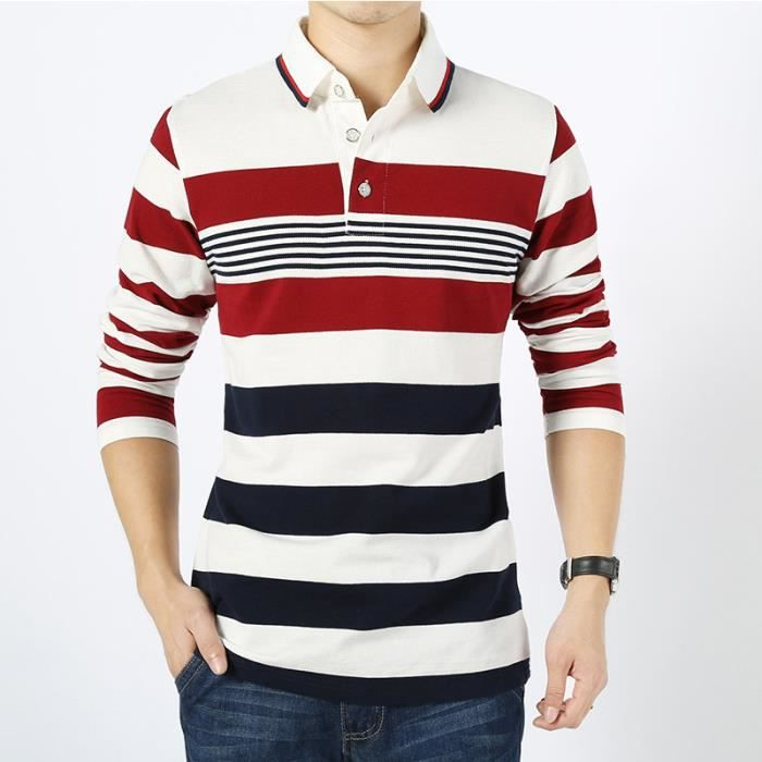 Casual Manches Frange Revers Polo Slim Longues Coton Chemise Hommes w4InYq8f