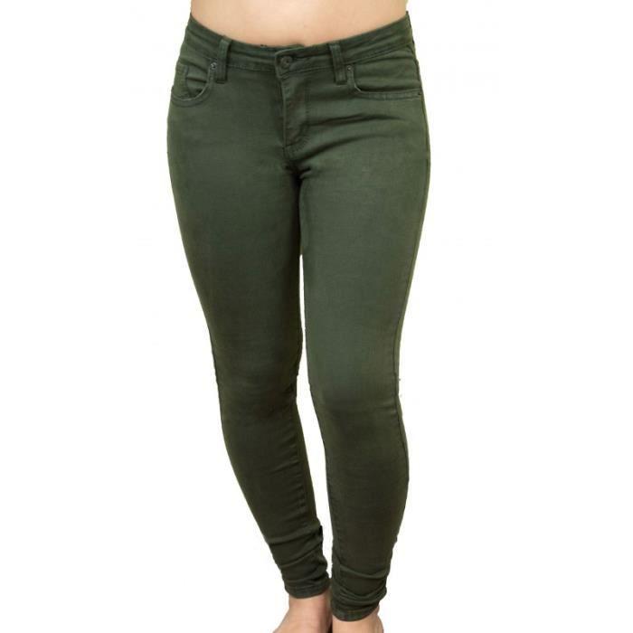 a2edbb520785 Jean slim femme kaki stretch et souple qualité supérieure Vert Kaki ...