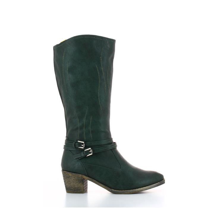 Bottes au genou à talons hauts bottes épaisses étendent avec des bottes en dentelle bottes imperméables, 38
