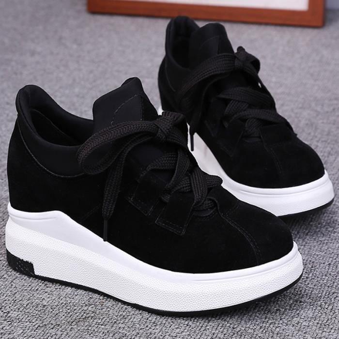 chaussures multisport Femme Automne - hiver de femme Souliers Slip-on à haut talons Mocassins noir taille35