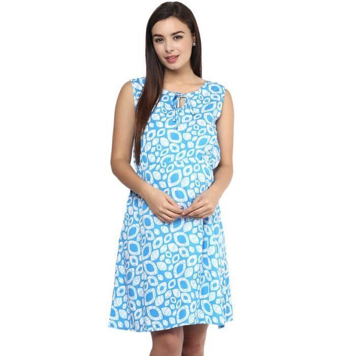 Imprimé géométrique bleu Femmes Robe D2242 Taille-36