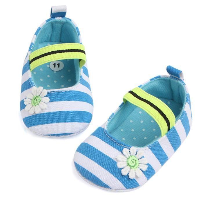 pour de souple BOTTE rayures à Chaussures de BleuHM pour bébé Enfants dérapantes bébés anti bébés Chaussures fleur Semelle gRqqZxwU