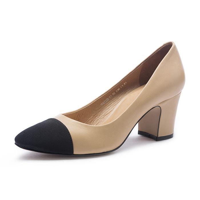 2018 couleur mélangée épaisse avec des chaussures simples en cuir à talons hauts à talons hauts femmes 13nJqHLDHo
