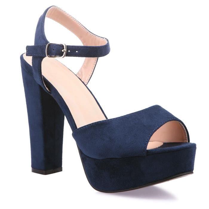 Sandales Plateforme À Et 36 Bleues Achat Haut Talon Bleu 4ARLj53q