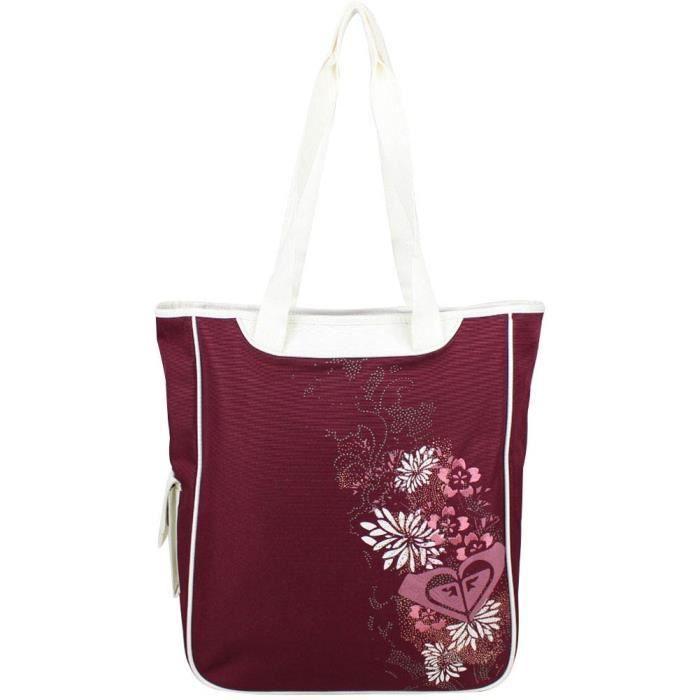la meilleure attitude 68ee5 d69af Grand sac cabas épaule Roxy imprimé motif fleurs XRWBA351 (Rouge 'bordeaux')