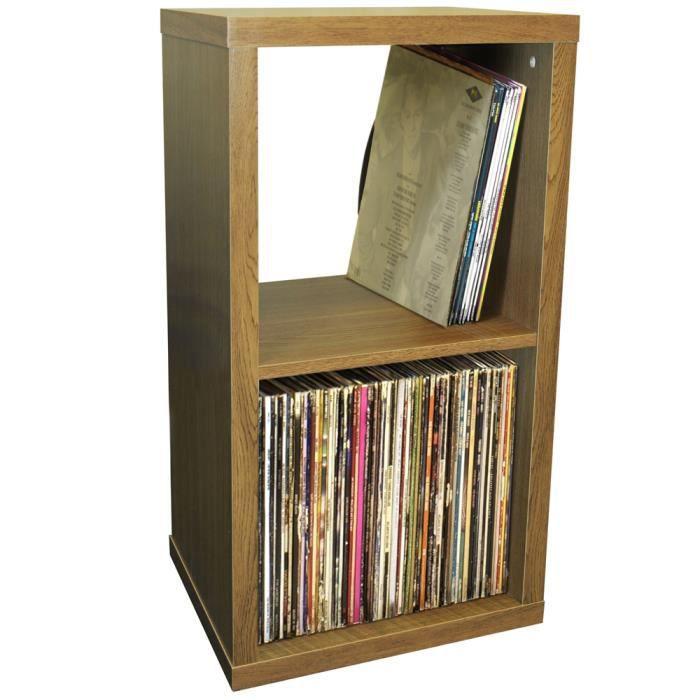 Cube 2 Etageres De Rangement Vinyls Lp Finition Chene